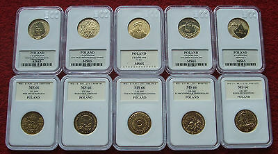 Poland Set Of Coins 2 Zlote Golden Nordic !! 10 Pieces !! Grading Lot 10 Pcs Lot