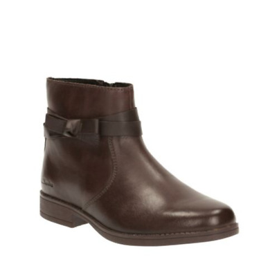CLARKS Sami Fluff Inf Brown Leather Girl Winter Ankle Boots Size UK 2 G EU 34