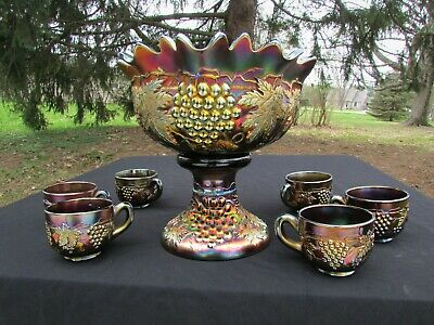 Northwood GRAPE & CABLE ANTIQUE CARNIVAL GLASS COMPLETE 8 PC. PUNCH SET~PURPLE!