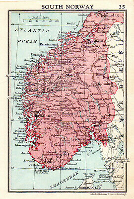 Map Of South Norway John Bartholomew Vintage 1951