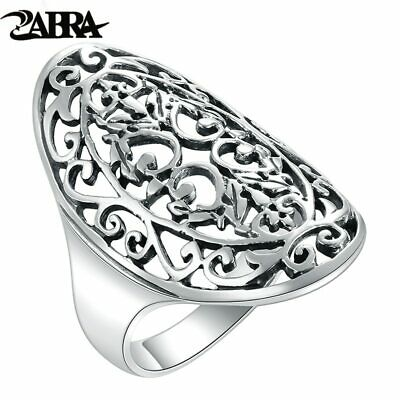 ZABRA 925 Sterling Silver Women Rings Hollow Out National Wind Restoring