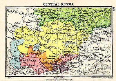 Map Of Central Russia John Bartholomew Vintage 1951