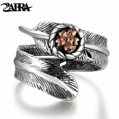 ZABRA Vintage Adjustable Ring Female Rose Gold Flower Feather Shape Love Punk