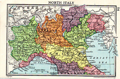 Map Of North Italy John Bartholomew Vintage 1951
