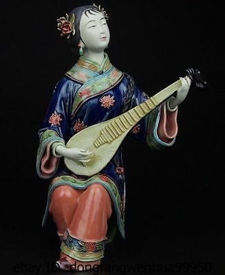 China Pottery Wucai Porcelain Home Lute Pipa Woman Ladies Art Decoration Statue