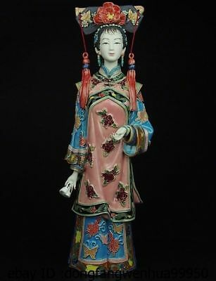 China Pottery Wucai Porcelain Home Display Woman Ladies Girl Decoration Statue