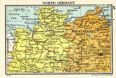 Map Of North Germany John Bartholomew Vintage 1951