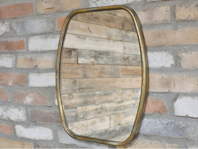 Vintage Style Brass Gold Coloured Frame Wall Mirror Retro Art Deco Geo