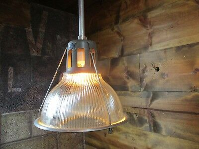 "VTG Industrial 13 1/2"" HOLOPHANE LOBAY 685 Pendant Light Old Factory Steampunk"
