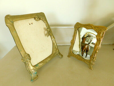 Pair of French Art Nouveau Frames Brass with Figural Female Forms Easel Stands