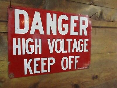 Vtg Metal PORCELAIN enamel DANGER HIGH VOLT Sign Industrial Warehouse Factory