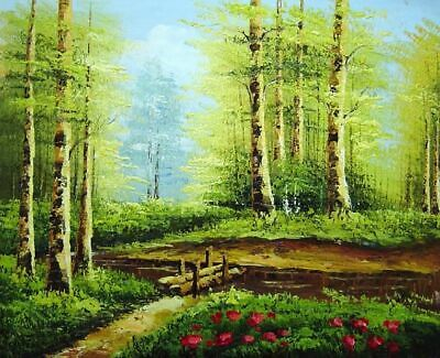 314c3c3f6 24X36 PEACEFUL PATH in Golden Autumn Forest Oil Painting Naturalism ...