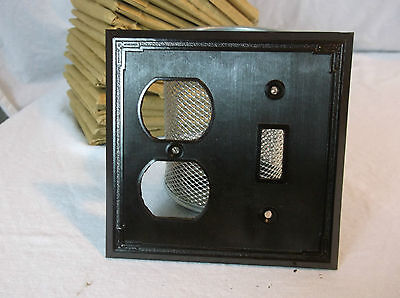 Brown Bakelite Wall Switch/Outlet Combo Plate Vintage NOS Switchplate Art Deco
