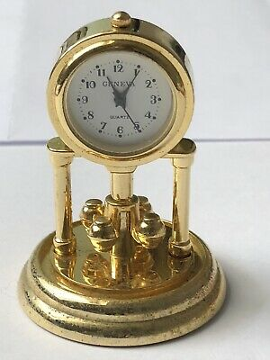 Stylish Miniature Bedside/desk clock working. Quartz Movement. Gold Finish