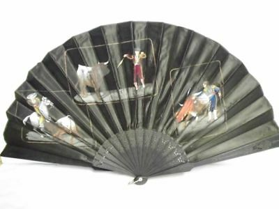 antiker Fächer- handbemalt+Stickerei-Spain-Fiesta Taurina-antique fan-bullfight