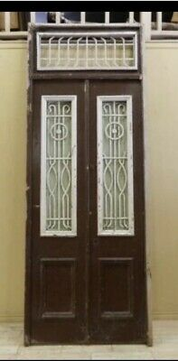 Antique European Transom Double Doors with Iron Insert, 9 1/2 Feet Tall