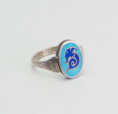 Elegant antique sterling silver and blue enamel ring size 7.5 Siam