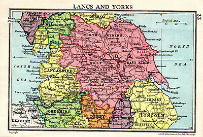 Map Of Lancashire & Yorkshire York Lincoln John Bartholomew Vintage 1951