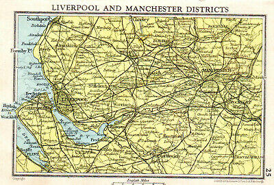 Map Of Liverpool & Manchester Districts John Bartholomew Vintage 1951