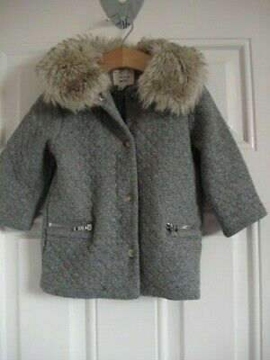 River Island Girls 9 To 12 Jersey Jacket With Faux Fur Trim 9 - 12