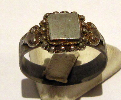 Amazing Medieval Or Post-Medieval Silver Ring With Gold Plated # 81B