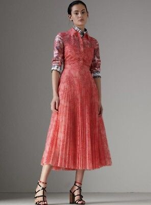 4a29ba55fb6 BURBERRY Clementine Apricot Coral Floral Lace Midi Pleated Shirtdress 8   2190