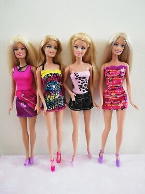 Pretty Barbie Doll Bundle - Wearing Outfits With Shoes - Lot
