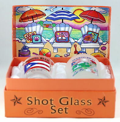 Puerto Rico Shells On Shore Boxed Shot Glass Set (Set of 2)