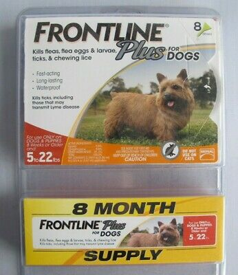 Merial Frontline Plus Flea and Tick Control for 5-22 Pound Dogs 8 pack