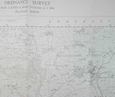 1961 old OS Ordnance Survey 1:25000 First Series Prov map ST02 Wiveliscombe