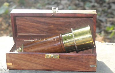 "Vintage Marine brass Spyglass Telescope Astrolabe Collectible 18"" W/ Wooden Box."