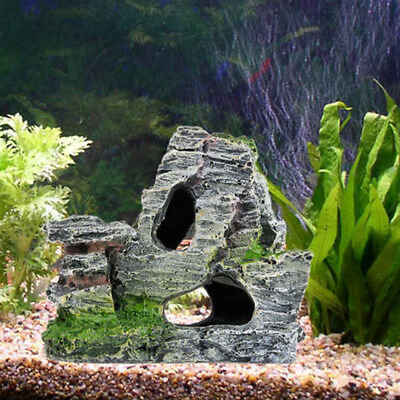 Mountain View Aquarium Rock Cave Tree Bridge Fish Tank Ornament Rockery Decor HQ