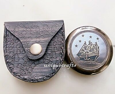 Antique Poem Compass With Leather Case Nautical Brass Marine Pocket .