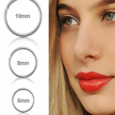 20g Surgical Steel Thin Small Silver Nose Ring Hoop Cartilage