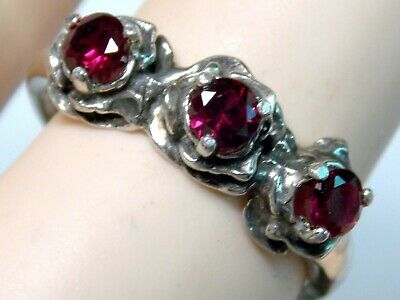 3 Flower Blood Red Ruby Antique 925 Sterling Silver Ring Size 6.5 USA made