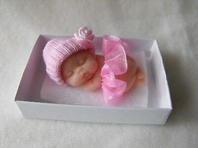 OOAK  baby dollhouse miniature  5cm polymer clay  pink doll   made by  Cas