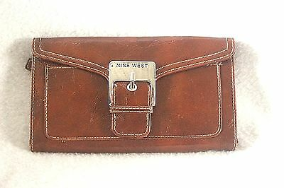 NINE WEST ~ Brown Roomy Organizer Trifold Wallet * VERY GOOD COND.