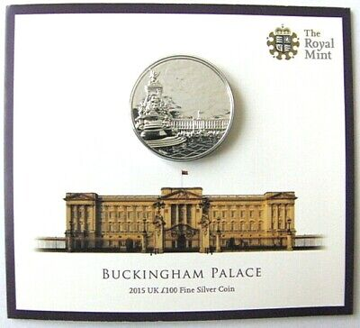 UK Royal Mint £100 Pounds Solid 999 Silver Coin BU Quality, Buckingham Palace
