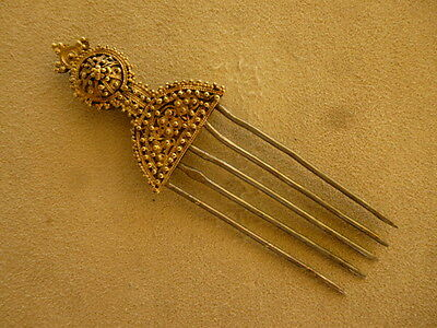 Antique African Tribal Art Jewelry Hair Pin Ornament Gilded Silver Comb Ethiopia