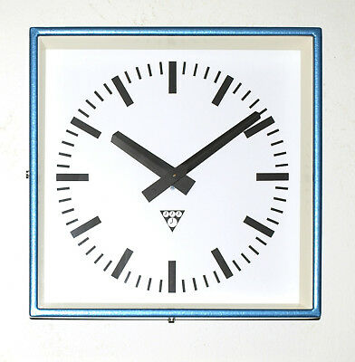 metal square wall clock PRAGOTRON - vintage loft industrial - factory blue