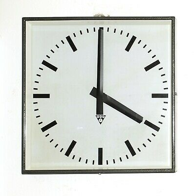 XL metal square wall clock PRAGOTRON - Factory vintage loft industrial DARC GREY