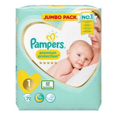 Pampers Size 1 Nappy 2-5Kg Jumbo Pack 72 Nappies DermaTest Premium Protection