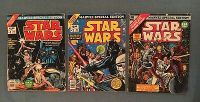 Marvel Special Edition ft. Star Wars #1-3 (FN, Vol 1, 1977, Giant Size, Rare!)