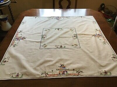 """VINTAGE HAND CROSS STITCH EMBROIDERY TABLE CLOTH  CENTER PIECE  SIZE 36""""x35"""""""