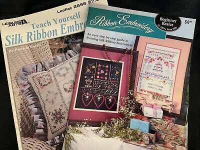 Lot of 2 Silk Ribbon Embroidery Instruction & Pattern Guide Books