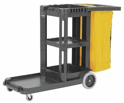 """TOUGH GUY Black Janitor Cart, 56""""L x 19-3/4""""W x 38""""H, Number of Shelves: 1"""