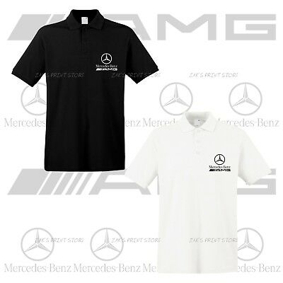 Mens Mercedes Benz Slim Fit Polo Shirt EMBROIDERED Auto Logo T Shirt Tee AMG