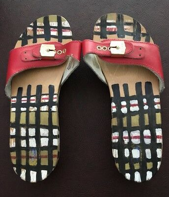 33d343e84 NOS Dr Scholl s Original Wood Sandal Leather Hand Painted - Made In Italy  Size 8