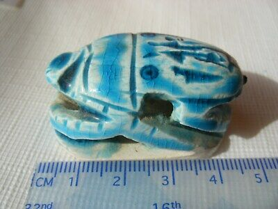 Unresearched Egyptian Scarab Egypt Faience Unknown Age Large Bead Pendant