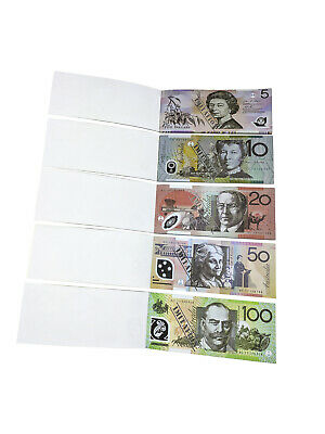 Souvenir Note Pad Kids Toy Fake Pretend Play Australian Dollar Money 50 Sheets